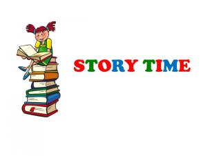 "Little girl with red pigtails sits on top of a stack of books, caption says ""Story Time"""